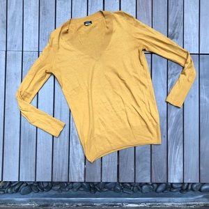 J CREW Yellow Merino Wool Blend VNeck Knit Sweater